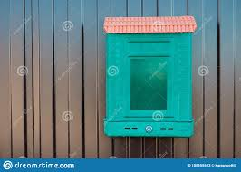 Traditional Mailbox Which Is Hanging On A Metal Fence Stock Image Image Of Postman Envelope 180655623