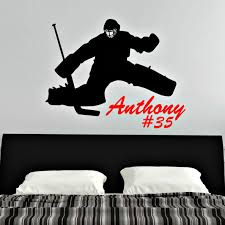 Personalized Hockey Goalie Vinyl Wall Decal With Name And Number Vinyl Written