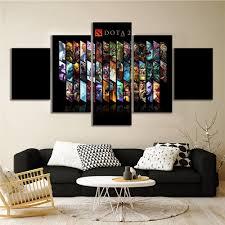 5 Panels Dota 2 Game Poster Cavnas Art Wall Paintings For Home Decor Wall Art Shopee Malaysia