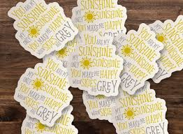 You Are My Sunshine Sticker Pastel Yellow Grey Die Cut Etsy