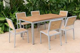aluminum frame teak wood dining table