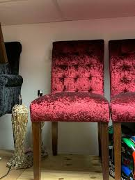 set of 6 red velvet chairs in