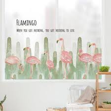 tropical green vinyl wall decal pink flamingo home decor fresh