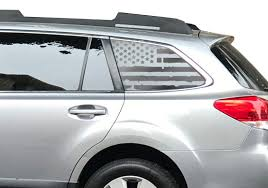 Amazon Com Distressed Usa American Flag Decals For Subaru Outback In Matte Black For Side Windows Fits 2015 2019 Qb4a Handmade