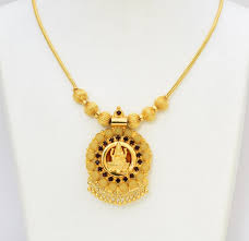 golden big laxmi locket with chain