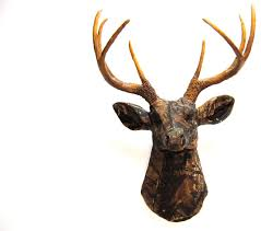 Faux Fabric Deer Head Wall Mount Rustic Wall Sculptures By Near And Deer