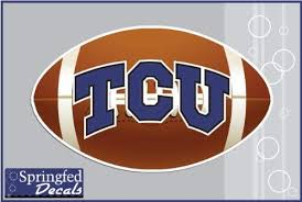 Amazon Com Tcu Horned Frogs Tcu Logo On Football 6 Vinyl Decal Texas Christian Car Truck Sticker Kitchen Dining