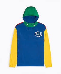 multi colorblock pullover hooded polo shirt