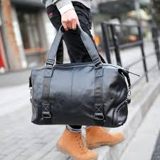 black leather mens travel bags large