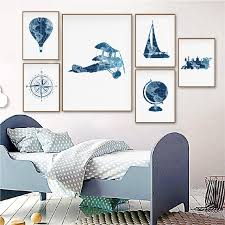 Big Discount E55c68 Blue Travel Nursery Wall Art Canvas Painting Pictures Hot Air Balloon Prints Train World Map Adventure Poster Kids Room Decor Cicig Co