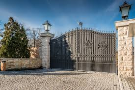 Metal Driveway Security Entrance Gates Set In Brick Fence Double R Manufacturing