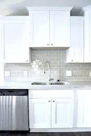white glass tile kitchen backsplash