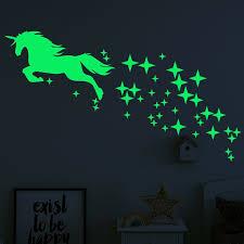 Kaboer Kaboer Cute Unicorn Vinyl Wall Decals Glow In The Dark Stars Diy Girls Bedroom Walmart Com Walmart Com