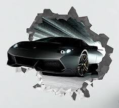 Huis Lamborghini Wall Hole 3d Decal Vinyl Sticker Decor Room Smashed Luxury Appcoug Org