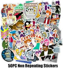 Amazon Com Futurama Stickers 50pc Pack Waterproof Vinyl Car Sticker Motorcycle Bicycle Luggage Decal Graffiti Patches Skateboard Stickers For Laptop Stickers For Kid And Adult Arts Crafts Sewing
