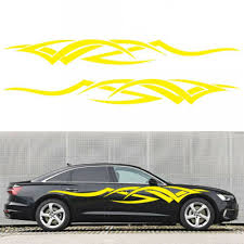 2x Car Side Body Flame Style Long Stripe Vinyl Decals Graphics Decor Sticker Diy Ushirika Coop