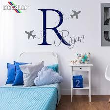 Airplane Customized Name Wall Decal Airplane Boys Monogram Sticker Personalized Boy Name Monogram Wall Sticker For Children Room Wall Stickers Aliexpress