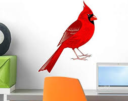 Amazon Com Wallmonkeys Northern Cardinal Wall Decal Peel And Stick Graphic 18 In H X 15 In W Wm311007 Furniture Decor