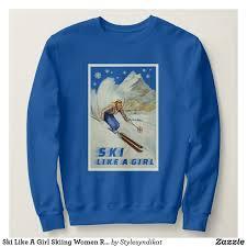ski like a skiing women retro