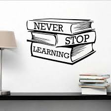 lettering study books wall sticker never stop learning