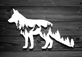 Fox Vinyl Decal Mountain Decal Car Decal Accessories For Etsy Mountain Decal Nature Decal Scroll Saw Patterns