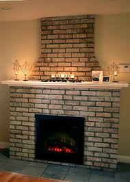 an electric fireplace with brick facade