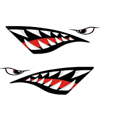 Rowing Kayak Boat Shark Teeth Accessories Mouth Sticker Vinyl Decal Sticker For Decal Left Right Waterproof Diy Funny 2pcs Aliexpress