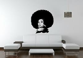 African Woman Wall Decal Glamour Girl Face Vinyl Sticker Afro Art Stylist Office 19 95 Picclick