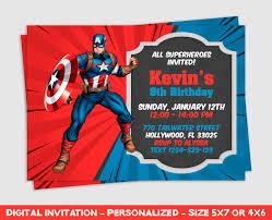 Captain America Invitation Captain America Party Captain Etsy