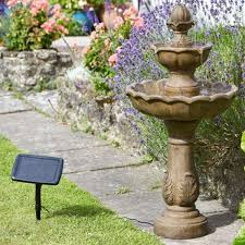 3 tier solar garden water feature fountain