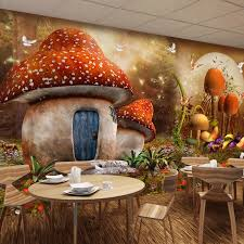 Custom Cartoon Theme Mural Wallpaper For Kids Mushroom House Cartoon Fantasy Wall Mural Children S Room Sofa Backdrop Wall Paper Mural Wallpaper Wall Paperwallpaper For Kids Aliexpress