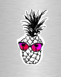 Hot Pineapple In Pink Vinyl Sticker Decal Buffalo Gals Co