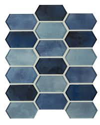 Boathouse Blue Picket Pattern Glass Mosaic Tile Backsplash Accent Wall Shower