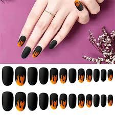 24pcs Set Punk Fire Pattern Matte False Nails Glue Dark Black Pre