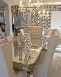 dining table and orb chandelier