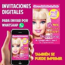 Tarjetas De Invitacion Whatsaap Cumpleanos Barbie 1 100 En