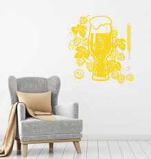 Vinyl Wall Decal Pub Beer House Logo Glass Bar Alcohol Humulus Sticker Wallstickers4you