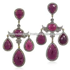 18kt gold indian ruby silver 925 pave