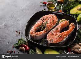 Fresh Raw Salmon Steaks Grill Pan Ready ...