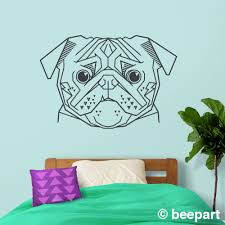 Geometric Pug Wall Decal Animal Art Statement Wall Decor Cubist Art Pug Stickers Dog Stickers Dog Lover Gift Unique Pug Art