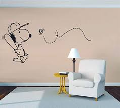 Size Snoopy Wall Decals For Kids Bedroom Snoopy Dog Boy Room Decor Vinyl Art Stickers Decal Childrens Rooms The Peanuts Movie Cartoon Character Baseball Sports Fun Dogs Decoration 4x10 Inch Room Decor