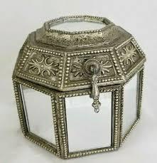 wood octagon shaped jewelry trinket box