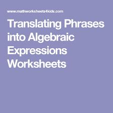 translating phrases into algebraic