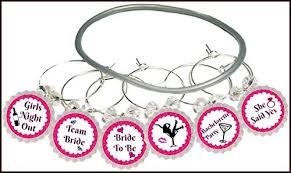 bachelorette party wine glass charms