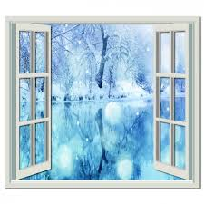 Snowy Lake Wall Sticker Window Wall Decal Wall Stickers Window Wall Prints Window Wall