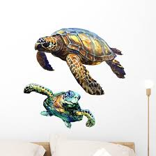 Sea Green Turtle Watercolor Wall Decal Sticker Set Wallmonkeys Com