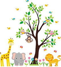 Amazon Com Nursery Wall Decal Jungle Decal Kids Wall Decal Kids Room Wall Decal Tree Wall Decal Gender Neutral Decal Safari Animal Decal Baby Room Ideas