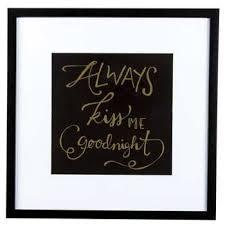 always kiss me goodnight framed wall