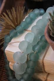 sea glass beads clear aqua recycled