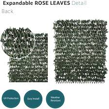 Amazon Com Ecoopts Artificial Rose Leaf Faux Ivy Expandable Stretchable Privacy Fence Screen Single Side Leafs And Vine Decoration For Outdoor Garden Yard 1 Pack Garden Outdoor